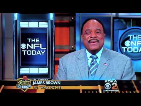 Charlie Batch gets a nice welcome from CBS Host James Brown