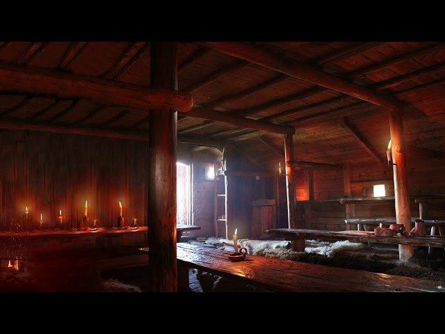 Viking Mead Hall - Relaxing Fireplace with Crackling and Nordic Ambiance, for Sleeping and Study