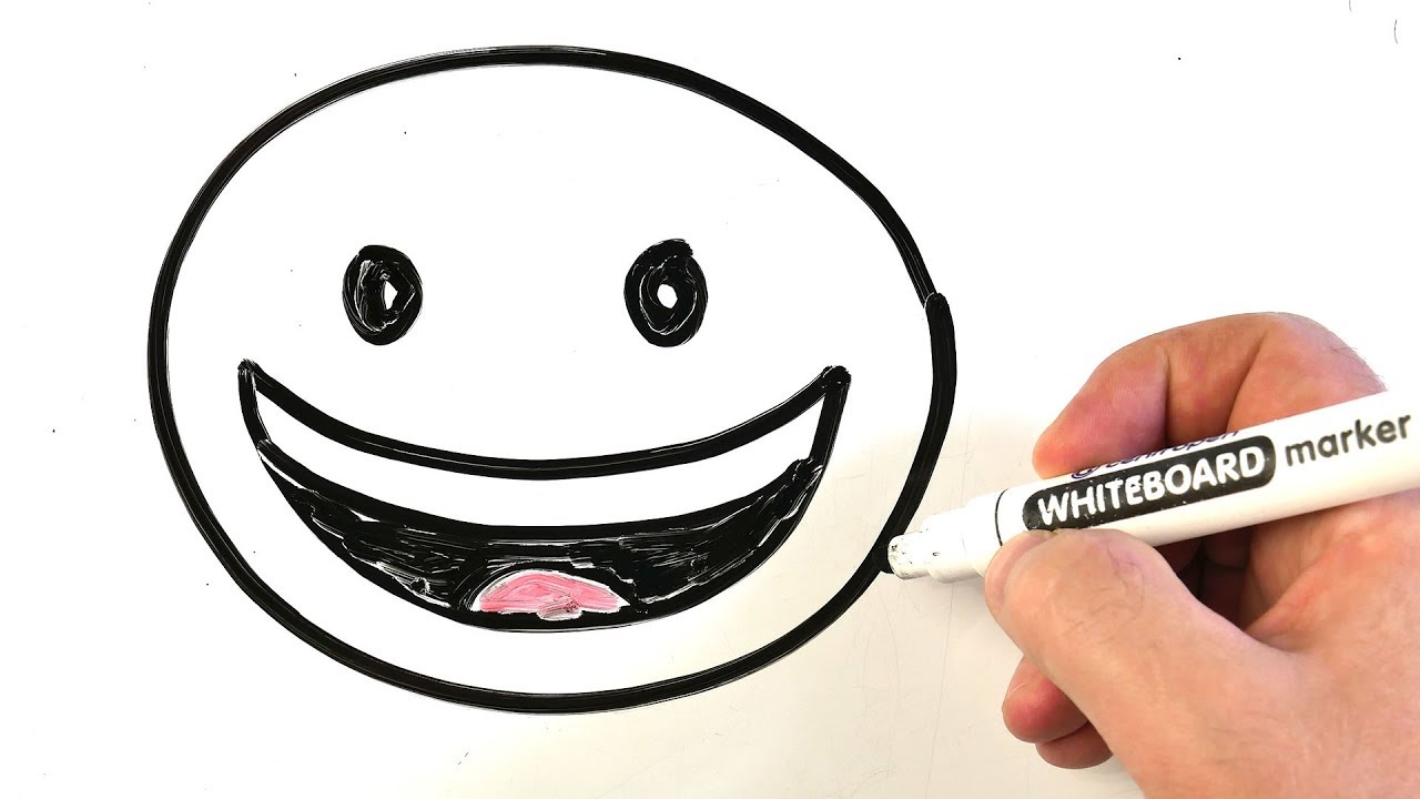 How to Draw Emoji Face With Tears of Joy 😀 Easy Drawing on a Whiteboard