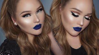 blue lipstick  glowy glam cut-crease makeup