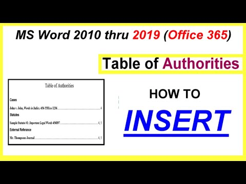 Word 2016, 2013 & 2010  - Table of Authorities - INSERT