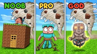 Minecraft - TORNADO BASE CHALLENGE! (NOOB vs PRO vs GOD)