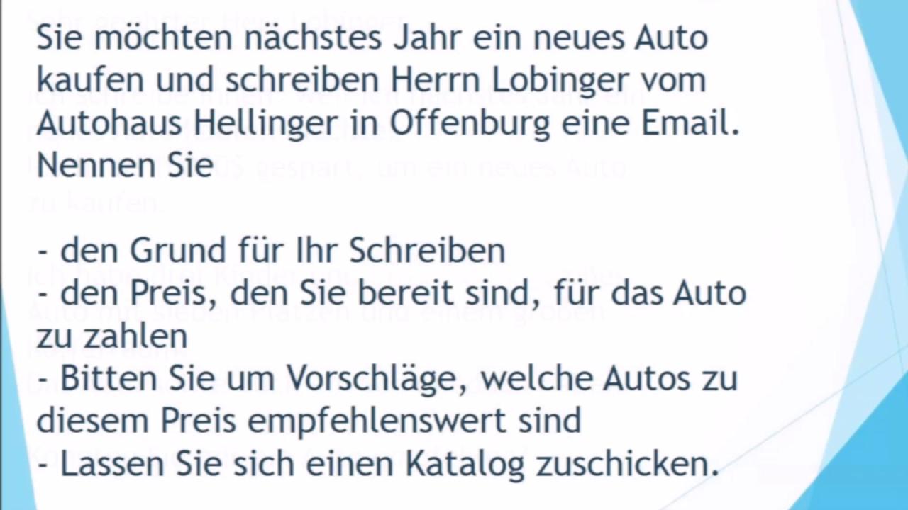 Neues Auto Kaufen Brief Schreiben Zur Prüfung B1 Telc Youtube