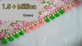 Simple,Quick, Very Easy Pearls Saree kuchu /Design#118