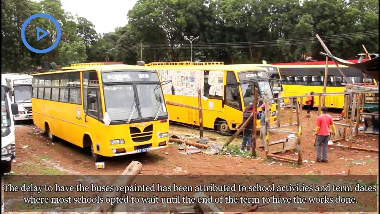 School Buses Flock Garages In Nyeri For Yellow Paint Even After Deadline