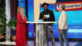 "Breakout rapper Cardi B didn't hold back as she and Ellen played a round of ""5 Second Rule."""