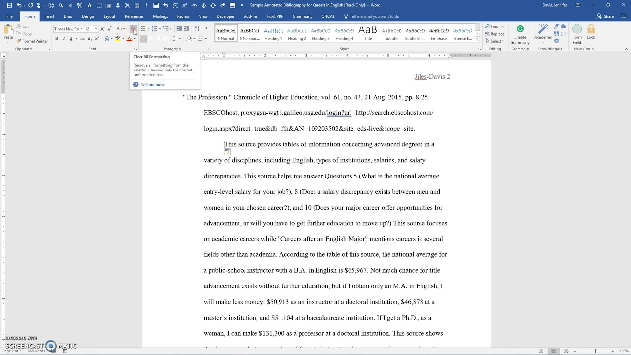 annotated bibliography indentation mla