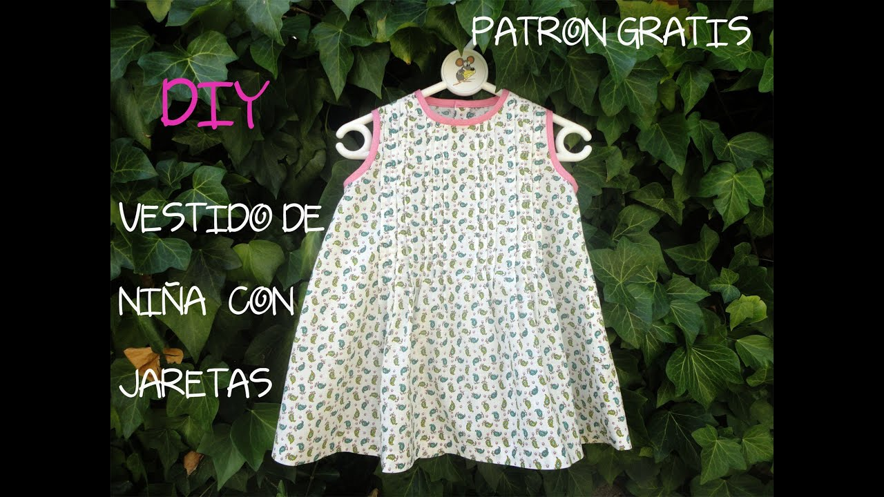 Como hacer un vestido de niña con jaretas, (Patrón gratis): Diy costura.