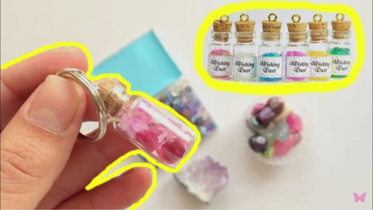 Diy crafts how to make keychains with mini glass bottle for Diy crafts with glass jars and bottles