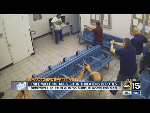Homeless man with knives Tased at MCSO jail