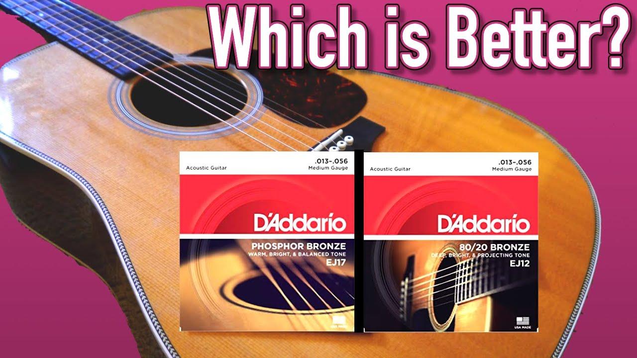 Acoustic String Comparison 80 20 Vs Phosphor Bronze Youtube
