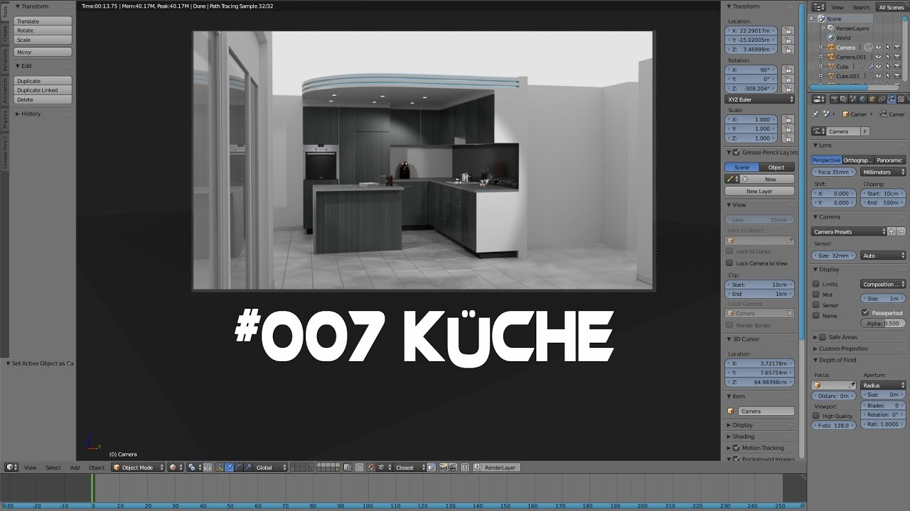 9 Blender 9.9 Haus Tutorial Küche (Kitchen) ( Cycles)