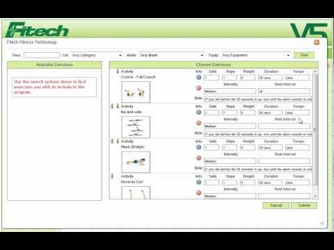 Fitech V5  Wellness Software-Creating An Exercise Program