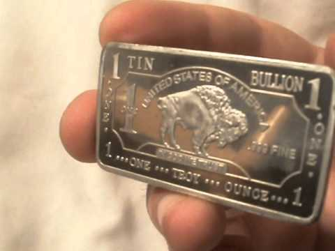 1 troy oz .999 fine tin bullion bar