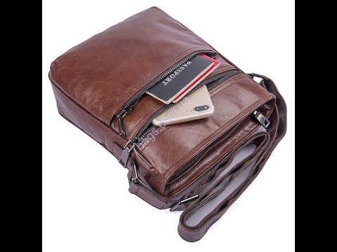 0abe8cc0efd7 Кожаная сумка на плечо мужская, коричневая JD1025B от John McDee ...
