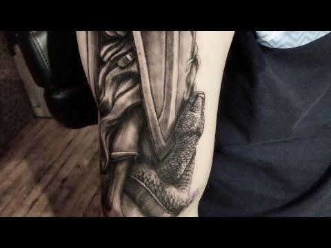 Angel Tattoo , Saint Michael tattoo, grey wash,Realistic tattoo, tips on tattooing by Cris Gherman