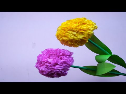 How To Make Round Tissue Paper Flower | DIY Paper Craft | DIY Paper Flower | SS Idea Crafts