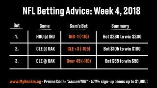 NFL Betting Advice: Week 4, 2018 - Against the Spread (ATS), Picks, Over/Under