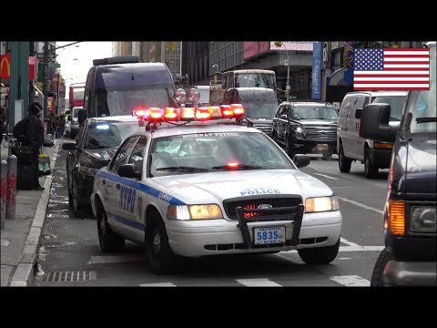 NYPD Counter Terrorism police convoys patrolling x2 - Hercules Team