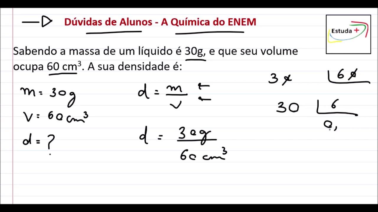 Como calcular a Densidade em g/cm3 - YouTube