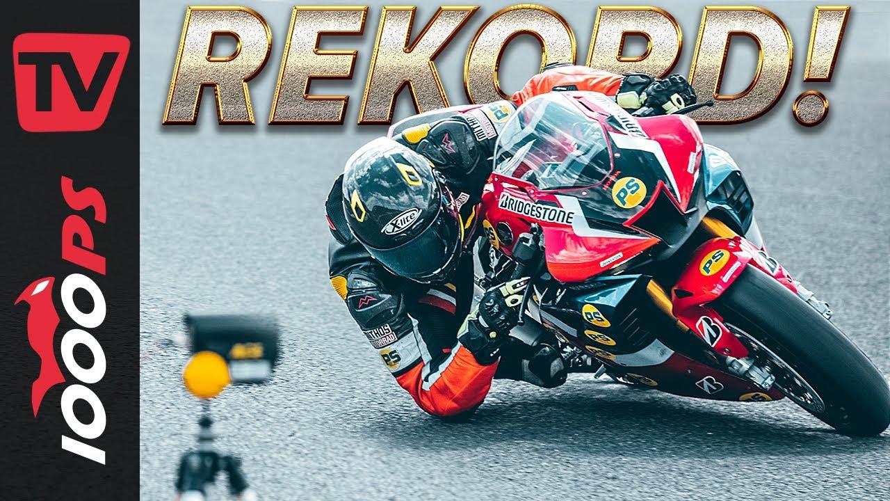 Sogar auf rechts!? Weltrekord - der schnellste Elbow Down | mit Honda Fireblade RR-R