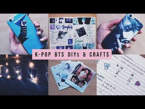 4 easy BTS inspired crafts & DIYs (phone case, cards, K-Pop journal, stickers...)
