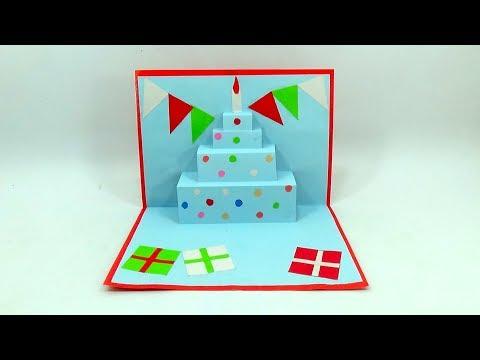 Paper Cake Tutorial   How to Make Birthday Cake   DIY Cake Pop Up Card For Birthday