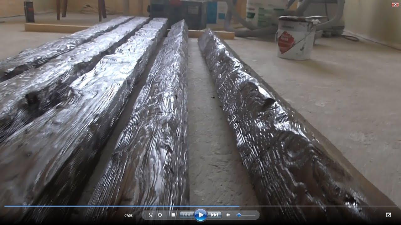 Монтаж декоративных балок на потолок - YouTube