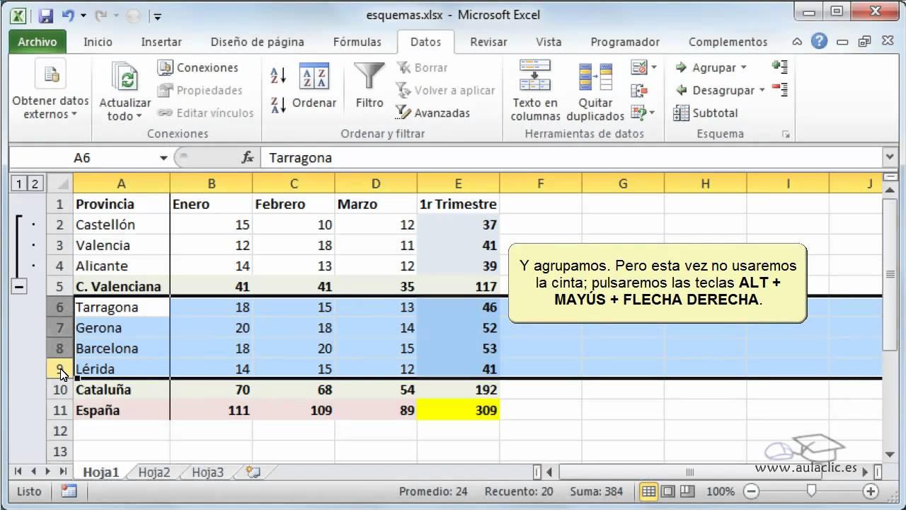 Curso De Excel 2010 14 1 Crear Esquemas Youtube