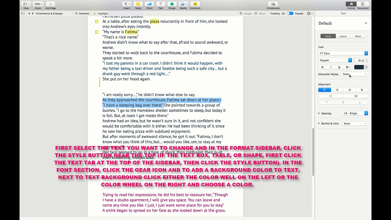 How To Add A Background Color To A Text In A Pages Document Mac