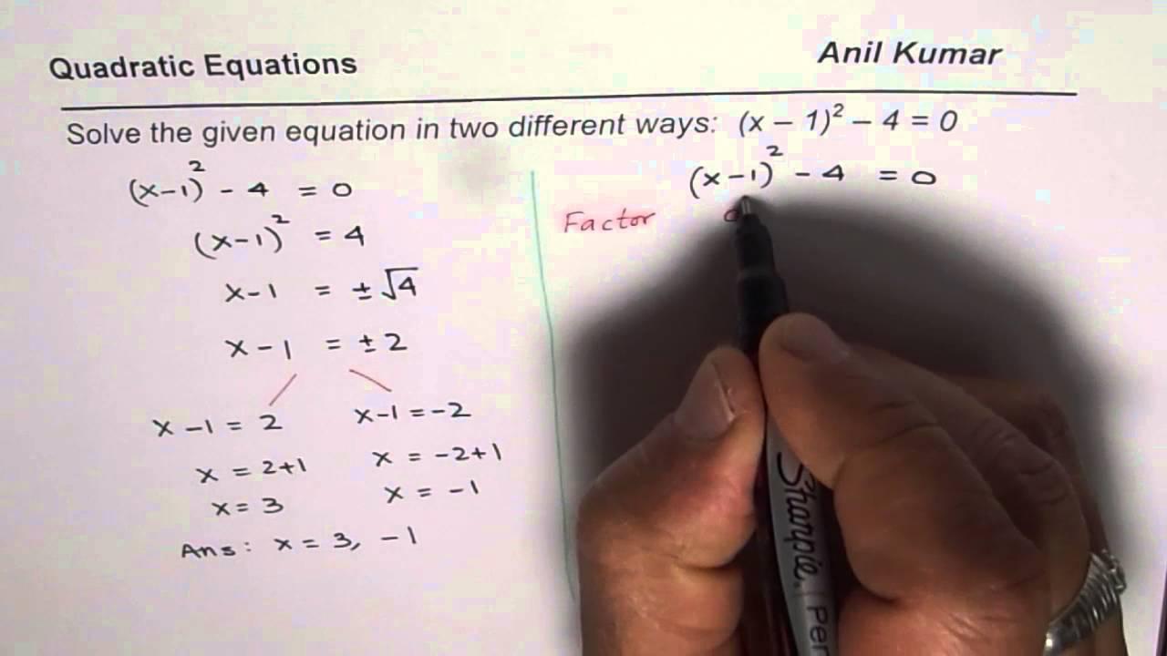 Two different methods to solve quadratic equation in vertex form two different methods to solve quadratic equation in vertex form falaconquin