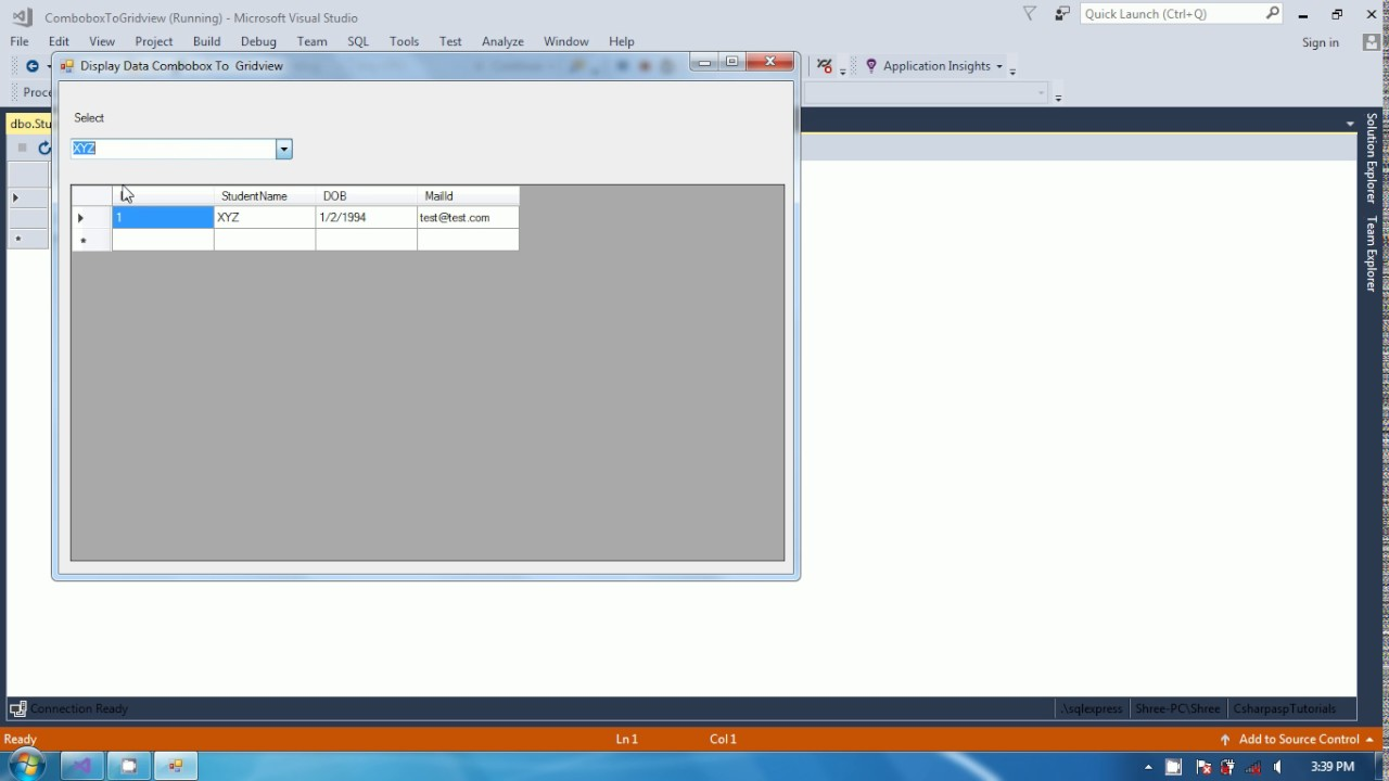 How to display data in DataGridView by combobox selected values