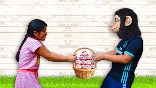 The gorilla steals eggs Malak - Video Fun For Kids