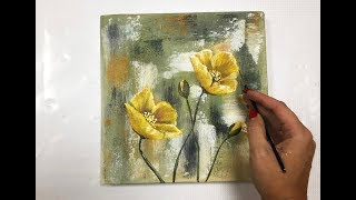 How to draw easy flowers painting / Demonstration /Acrylic Technique on canvas by Julia Kotenko
