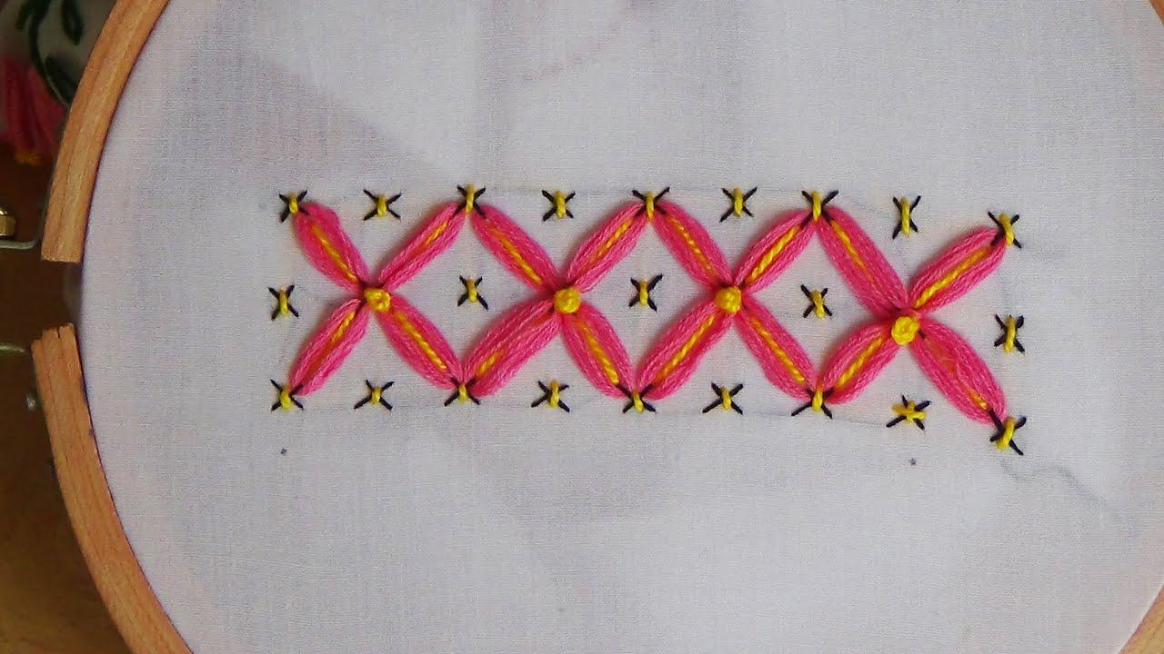 Hand embroidery tacking lazy daisy youtube