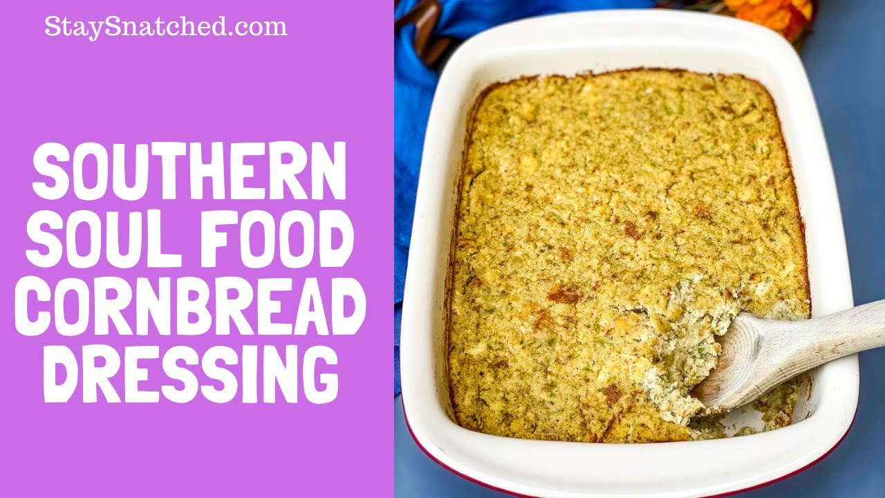 Southern Style Soul Food Cornbread Dressing Recipe with Chicken