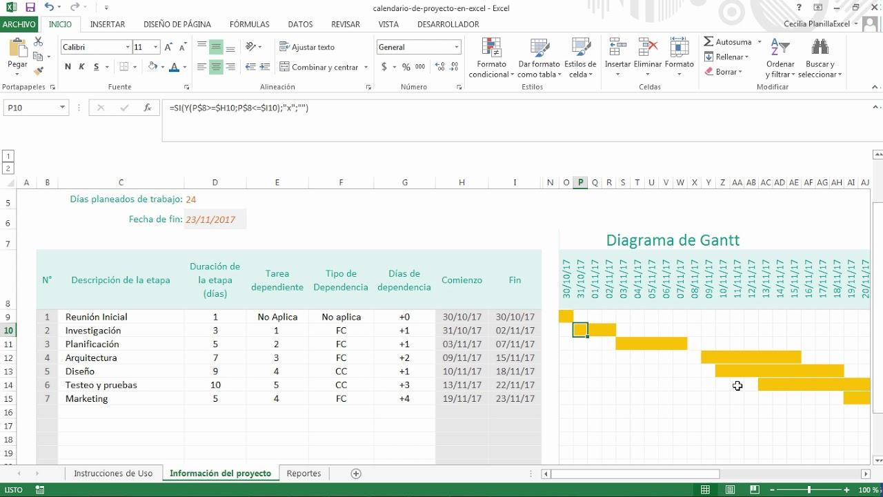 Calendario Su Excel.Calendario De Proyecto En Excel