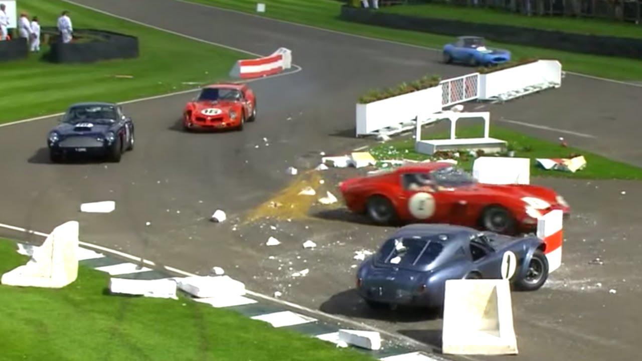 F1 star in Shelby Cobra smashes through barriers at Goodwood