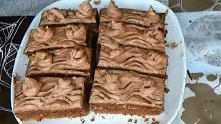 Бисквитное пирожное. Крем из какао. Домашнее пирожное рецепты.Как сделать пирожное