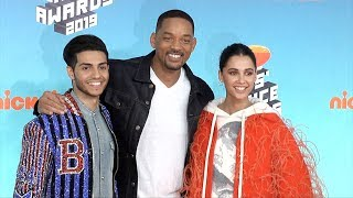 Mena Massoud, Will Smith, Naomi Scott 2019 Kids' Choice Awards Orange Carpet