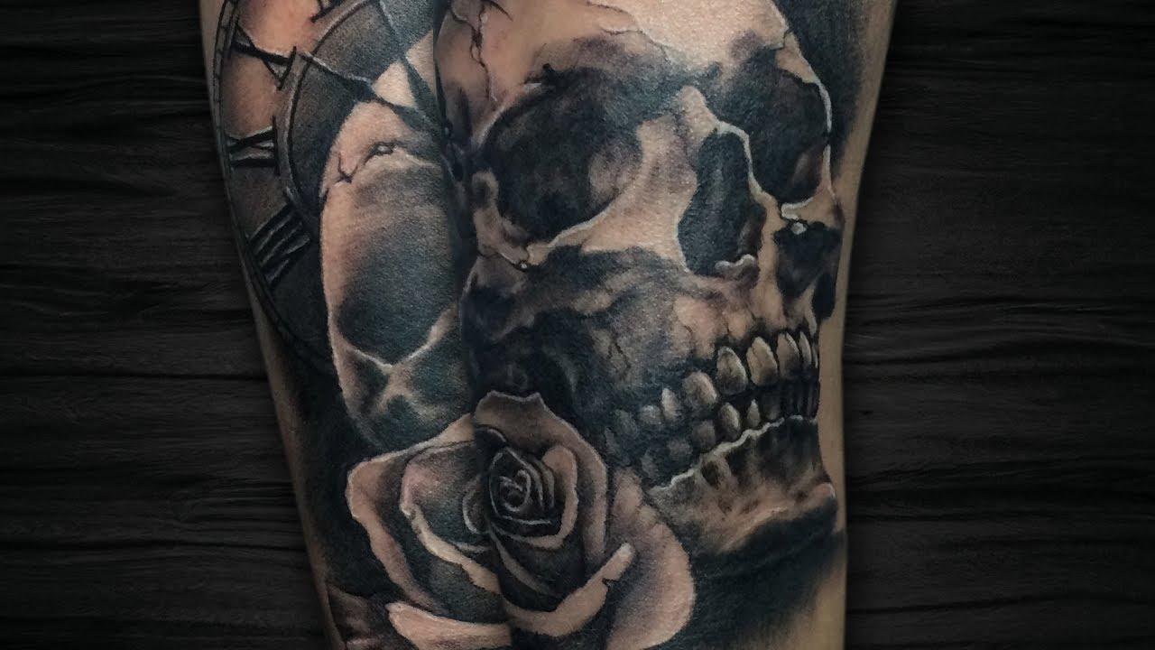 Caveira Com Rosa E Relogio Skull And Rose Realismo Tattoo
