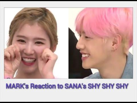 GOT7 Mark reaction to TWICE Sana 's Shy Shy Shy