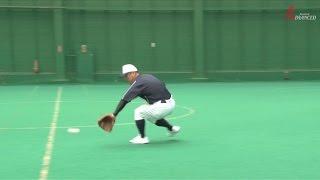 ADVANCED Baseball 遊撃手 併殺 「三遊間のゴロをバックハンドで捕球」 粘れるか、右ヒザ!