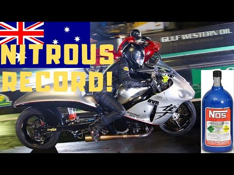 QUICKEST NITROUS NO BAR DRAG BIKE PASS IN AUSTRALIA! 75-INCH STRETCHED  SUZUKI HAYABUSA STUNS!