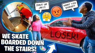 MAGIC BUSTED THE WINDOWS OUT JAY CAR💔 & WE SKATE BOARDED DOWN THE STAIRS!🛹