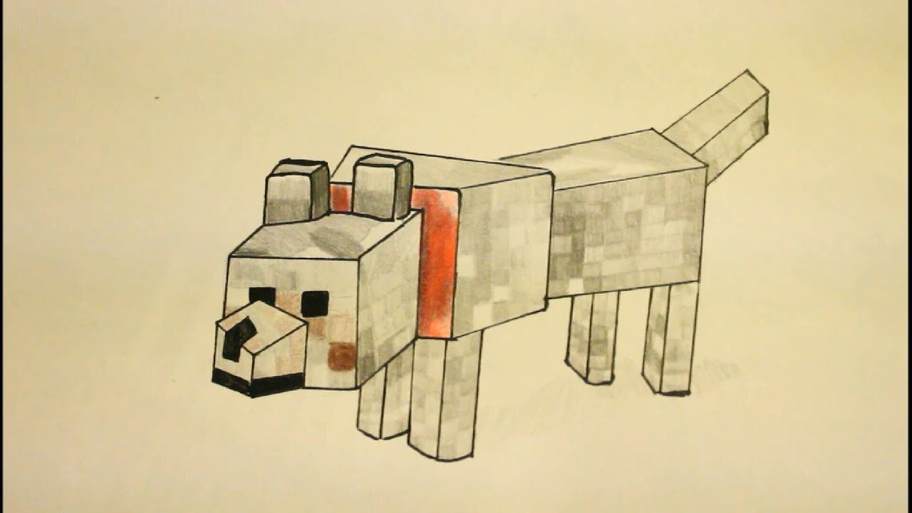 How To Draw Minecraft Wolfstep By Stepeasygregory (the Dog)