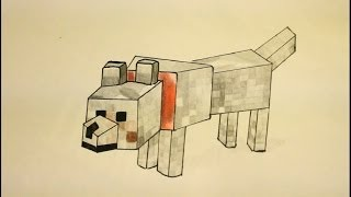 How To Draw Minecraft Wolf|Step By Step|Easy|Gregory (the dog)