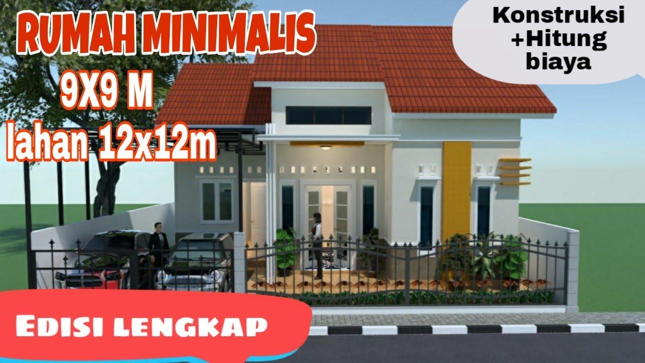 Desain Rumah Minimalis 9x9 Meter Di Lahan Rumah 12x12m 1 Lantai 3 Kamar -  YouTube