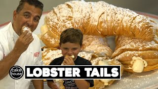 The Cake Boss Buddy Valastro and his youngest son Carlo reveal their secret family lobster tail recipe and techniques. Click SHOW MORE for full recipe.