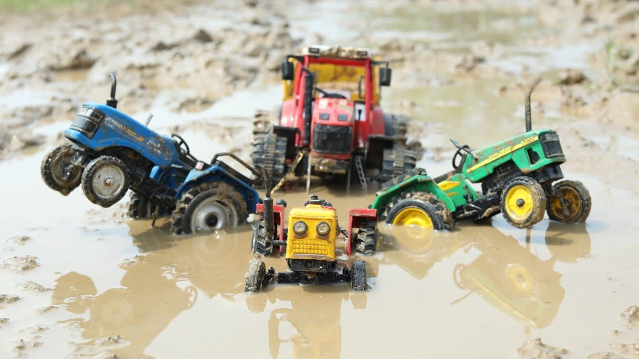 Tractor Heavy Loaded Sand Stuck in Deep Mud pulling Out HMT Tractor | Sonalika | John Deere | CS Toy